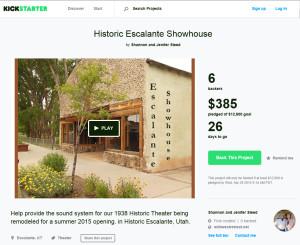 Escalante Showhouse's Kickstarter Page